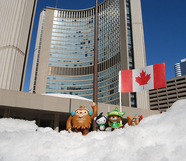 """Mascots at Toronto City Hall in Winter of 2010"" image by happyworker"