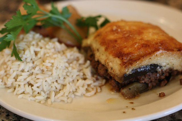 """Mousaka at Ouzeri in 2010"" by onlyandrewn (Andrew Nguyen)"