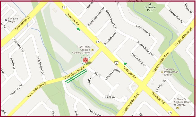 &quot;Map for St. Joseph Ukrainian Catholic Church in Oakville&quot;