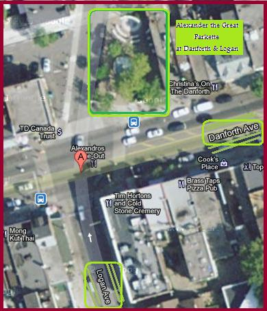 """Map for Alexander the Great Parkette in Toronto"" image by Mike DeHaan from Google Maps"