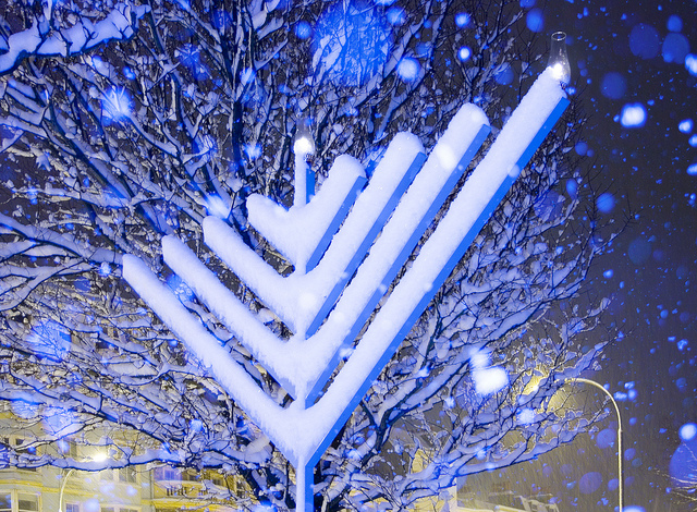 """Snow-Covered Chanukah Menorah in East Sussex"" image by Dominic's pics (Dominic Alves)"