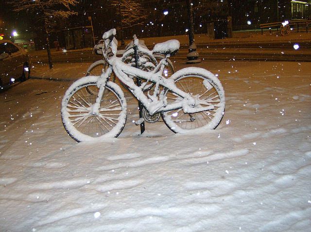 """A Bicycle in Winter Snow in Arlington, Virginia"" image by *Sally M* (Sally Mahoney)"
