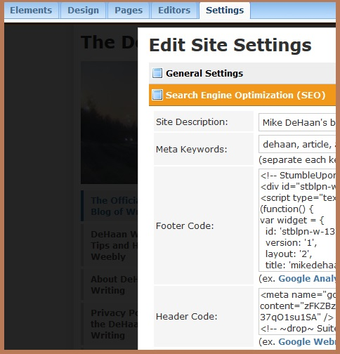 """Weebly SEO Settings"" image by Mike DeHaan"