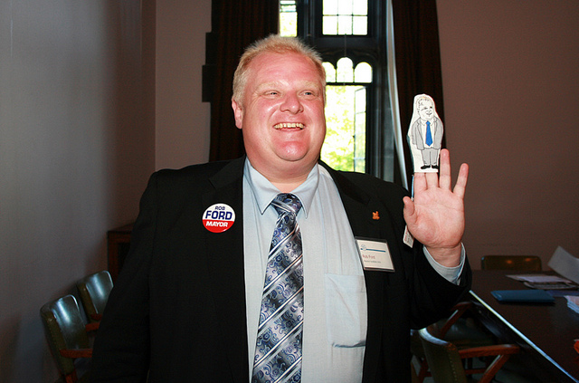 """""""Toronto Mayor Rob Ford campaigns with puppet in 2010"""" image by Shaun Merritt"""