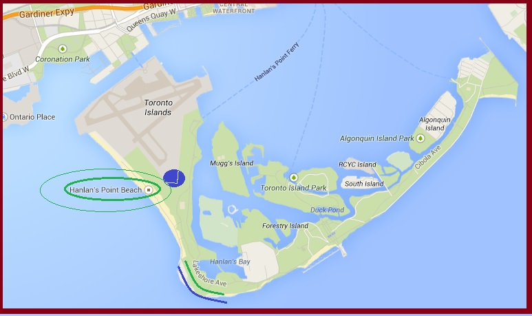 """Map of Toronto Islands for Triathlon"" image by Mike DeHaan via Google Maps"