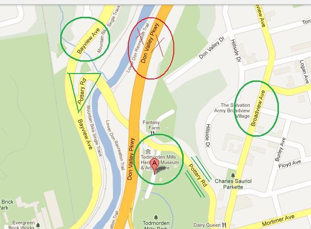 """Map of Todmorden Mills, Toronto"" image (c) by Mike DeHaan via Google Maps"