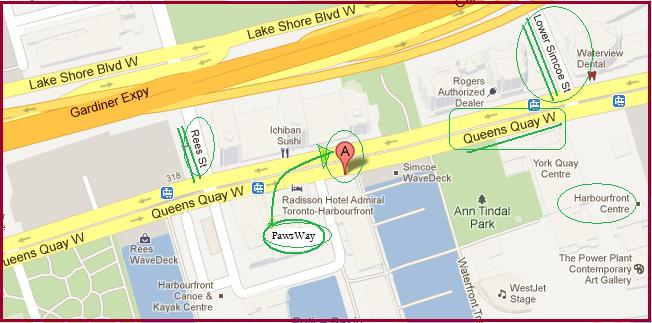 """""""Map to Harbourfront Centre and PawsWay in Toronto"""" image by Mike DeHaan from Google Maps"""