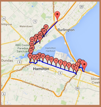 """""""Drive through Hamilton to avoid the Skyway Bridge"""" image by image by Mike DeHaan via milermeter (gmap-pedometer)"""