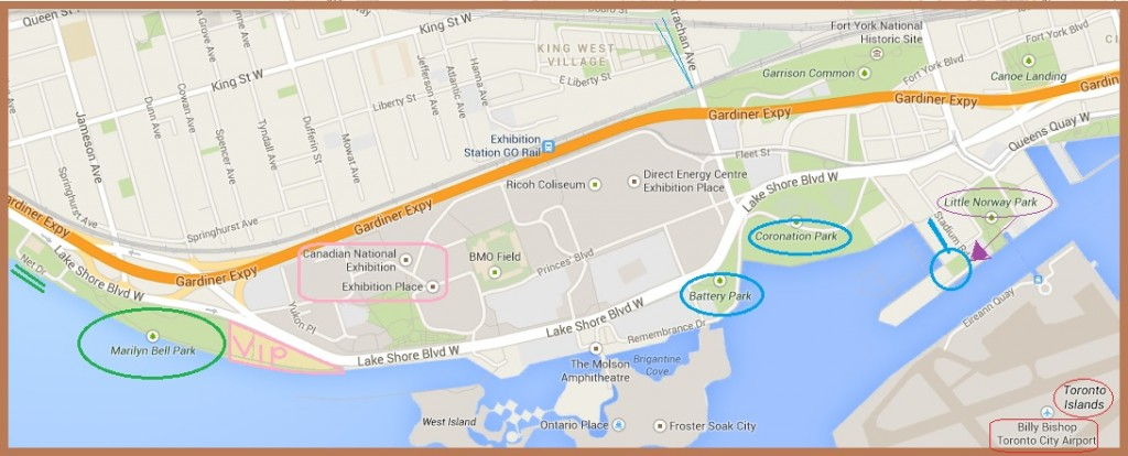 Map of Waterfront Toronto Parks Nearest the CNE. Image (c) by Mike DeHaan via Google Maps