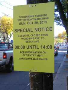 """2013 Scotiabank Toronto Waterfront Marathon Sign"" image by Mike DeHaan"