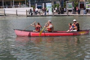 """Inner City Canoeists in the Natrel Pond at Harbourfront in Toronto"" image by Danielle Scott"