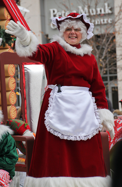 """Mrs. Claus in a Santa Claus Parade"" image by synestheticstrings in Flickr"