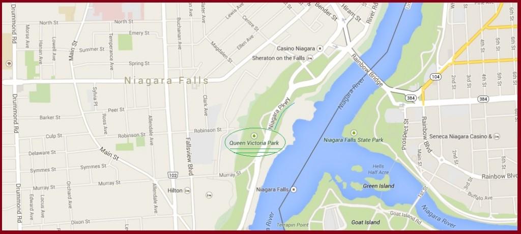 """Map for Queen Victoria Park in Niagara Falls Ontario"" image by Mike DeHaan via Google Maps"