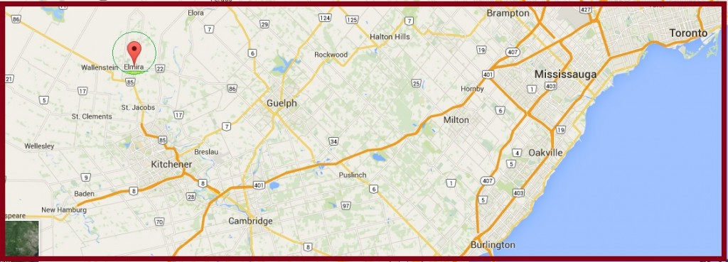 """Map to Elmira Ontario"" image by Mike DeHaan via Google Maps"