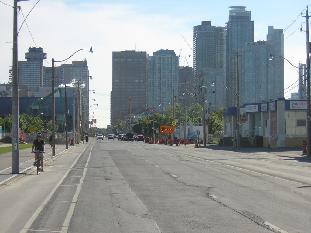 """Queens Quay Lacks a Trail or Sidewalk near Lower Sherbourn in June 2015"" image (c) by Mike DeHaan"