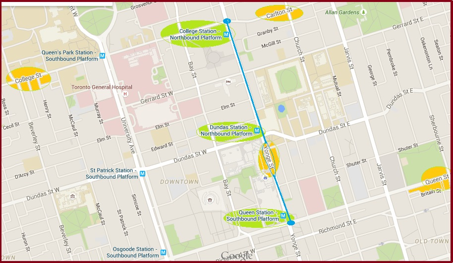 """Map of Buskerfest along Yonge Street in Toronto"" image (c) by Mike DeHaan via gmap-pedometer"