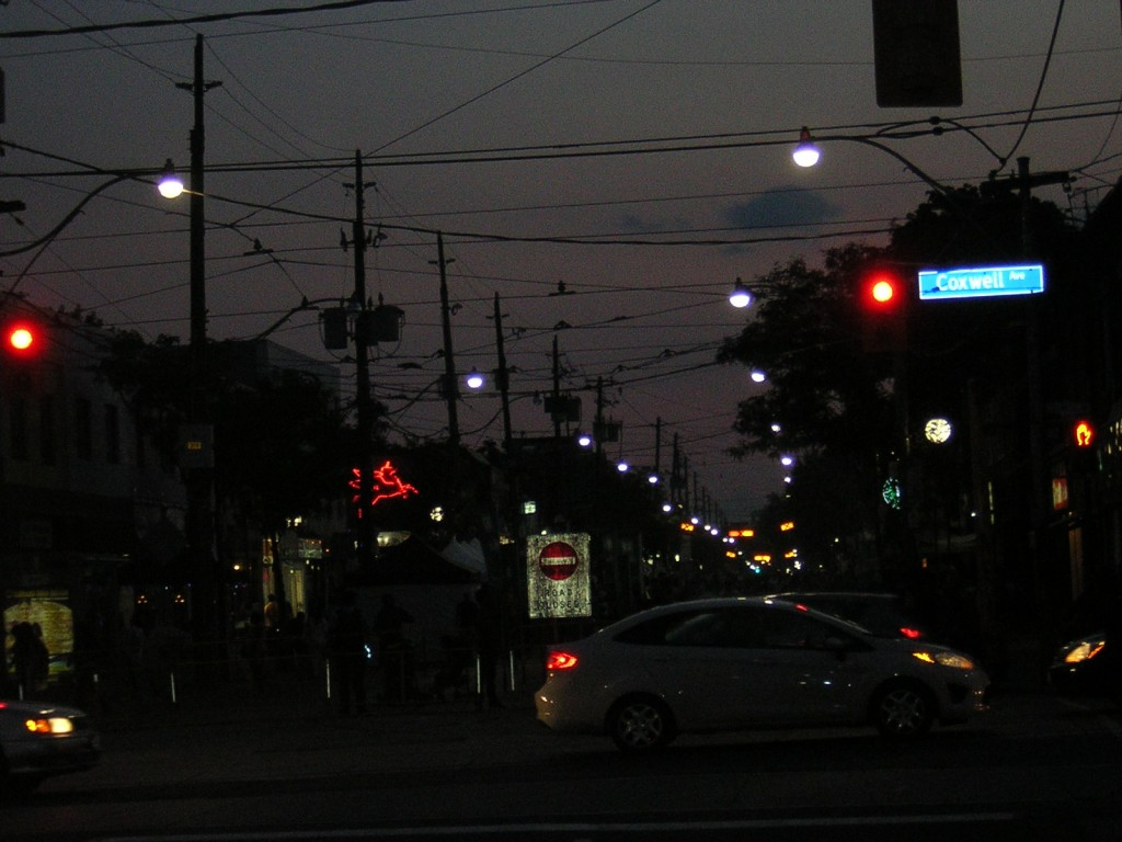 Festival of India #1, looking west along Gerrard at night.
