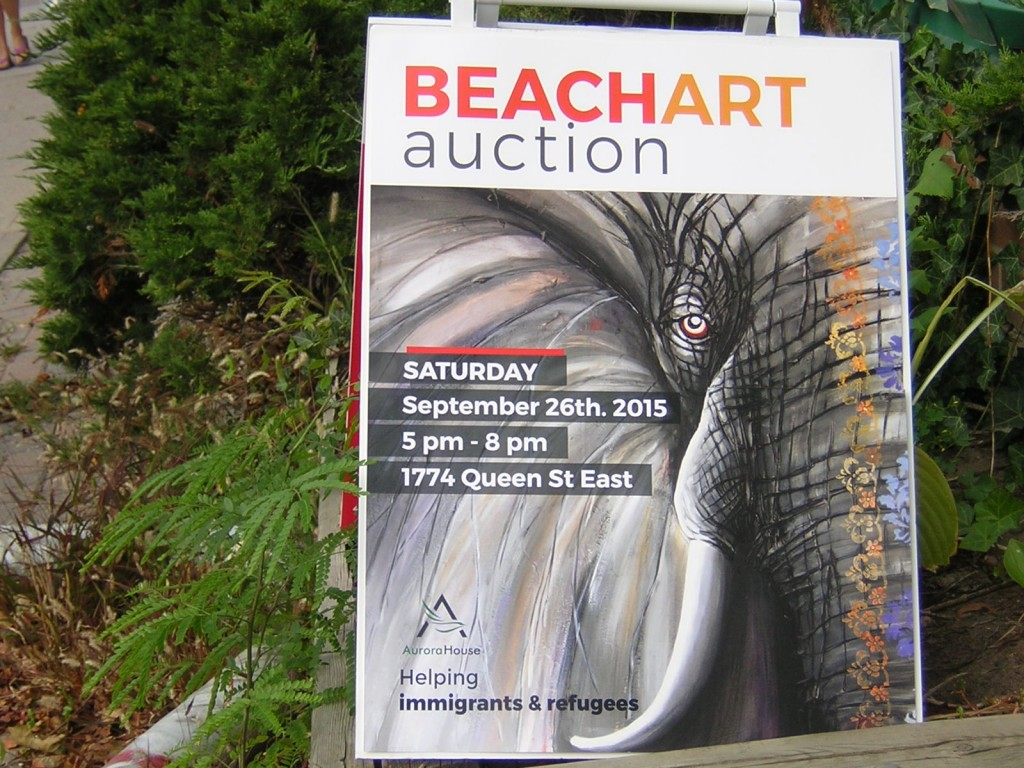 "sign for ""Beach Art Auction in Sept 2015"" (c) Mike DeHaan"