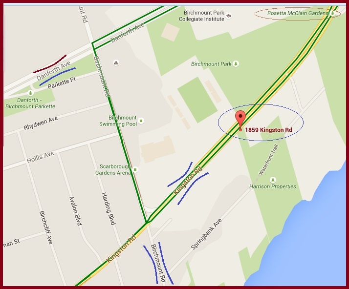 """Map for Scarborough Arts on Kingston Road in Toronto"" image (c) by Mike DeHaan via Google Maps"